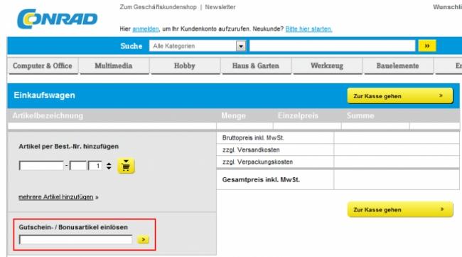 Gutschein-Hilfe Conrad.ch