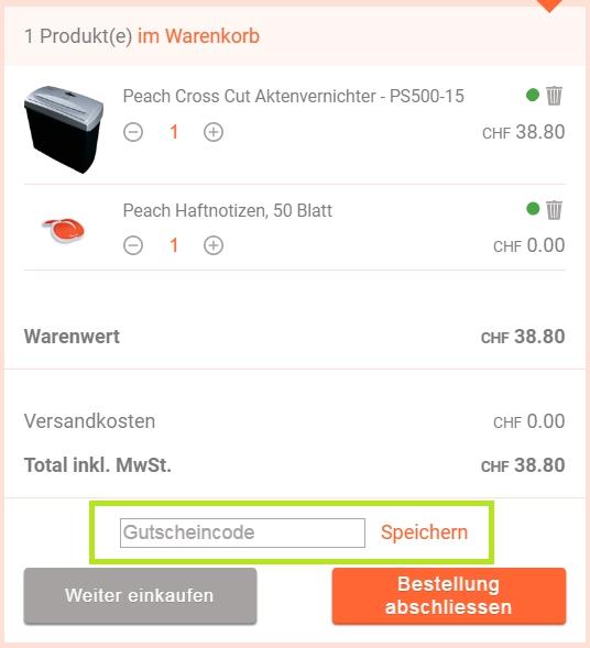 Gutschein-Hilfe PeachStore.ch