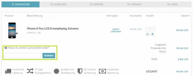 Gutschein-Hilfe phonedepot.ch