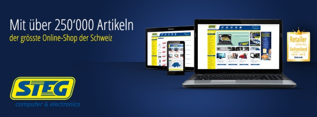 Laptop, Tablet, Smartphone mit Steg Online-Shop