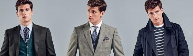 drei männliche Models tragen Anzug, Hemd und Krawatte von Charles Tyrwhitt